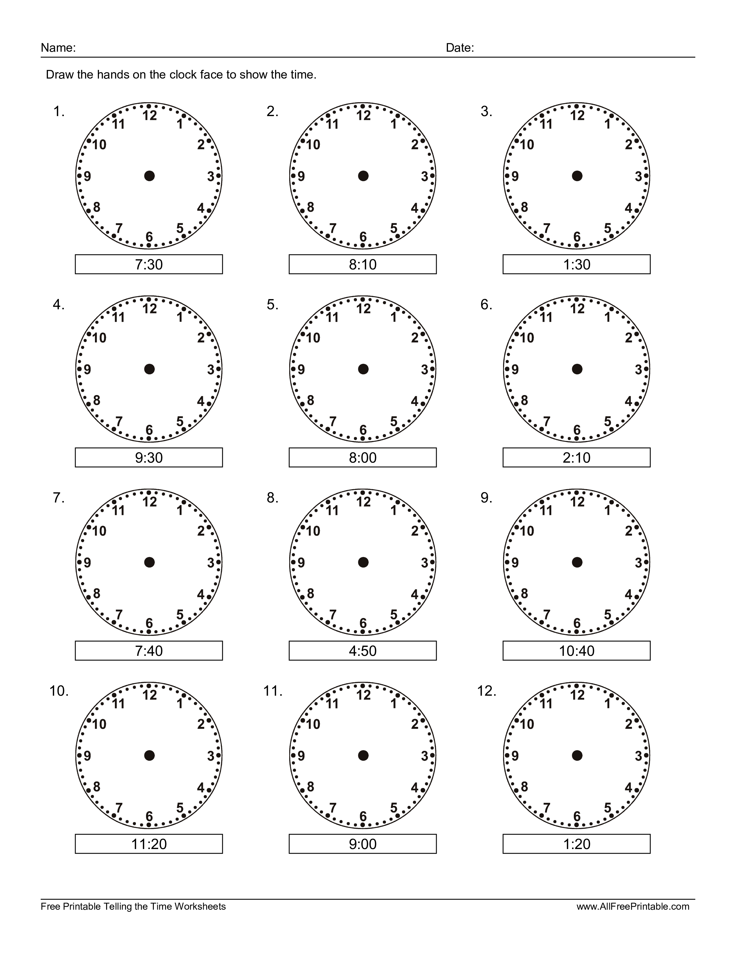 Free Learn How To Read The Clock For Kids