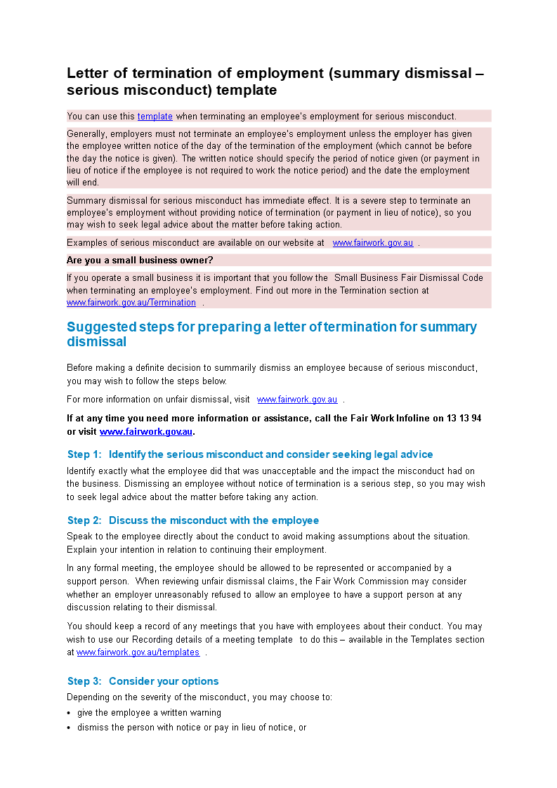 Sample Employee Termination Letter For Misconduct Main Image
