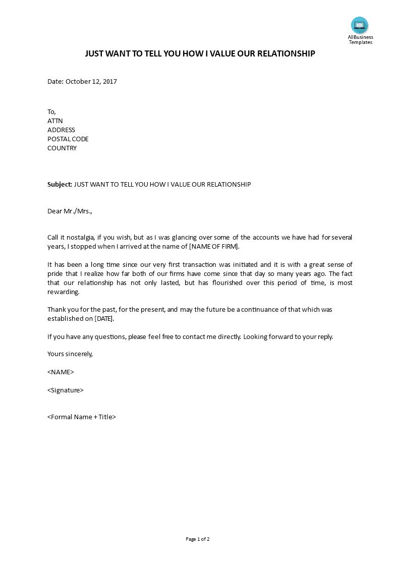 Customer Relations Letter Value Relationship  Templates