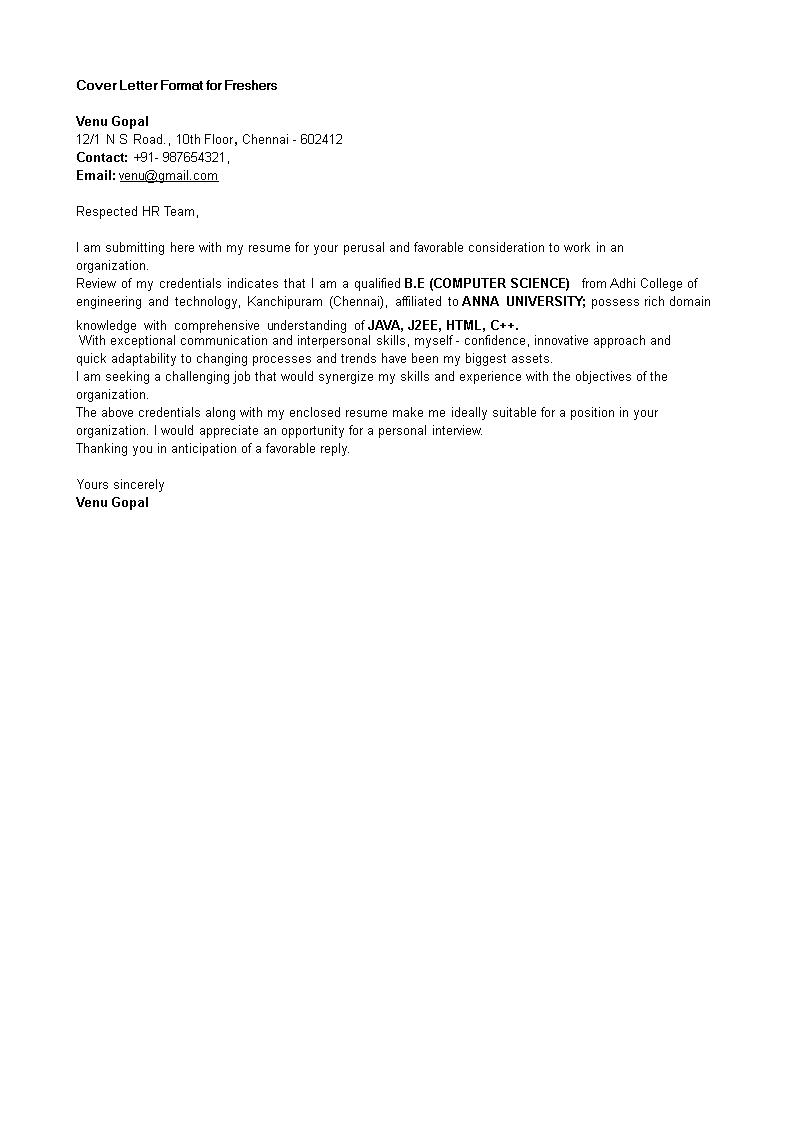 Cover Letter for Freshers Job   Templates at allbusinesstemplates.com