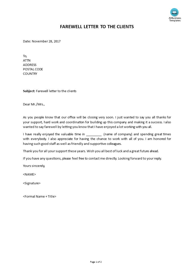 Farewell Letter To Colleagues   Templates at allbusinesstemplates.com