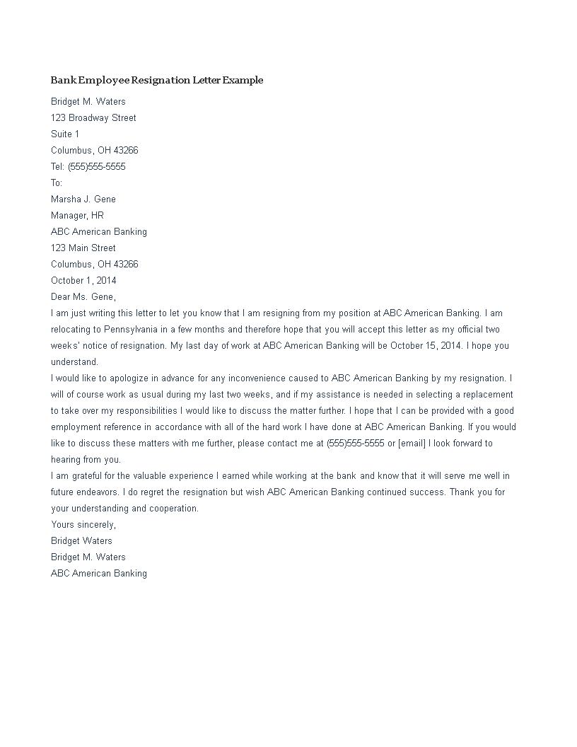 Bank Employee Resignation Letter template   Templates at allbusinesstemplates.com