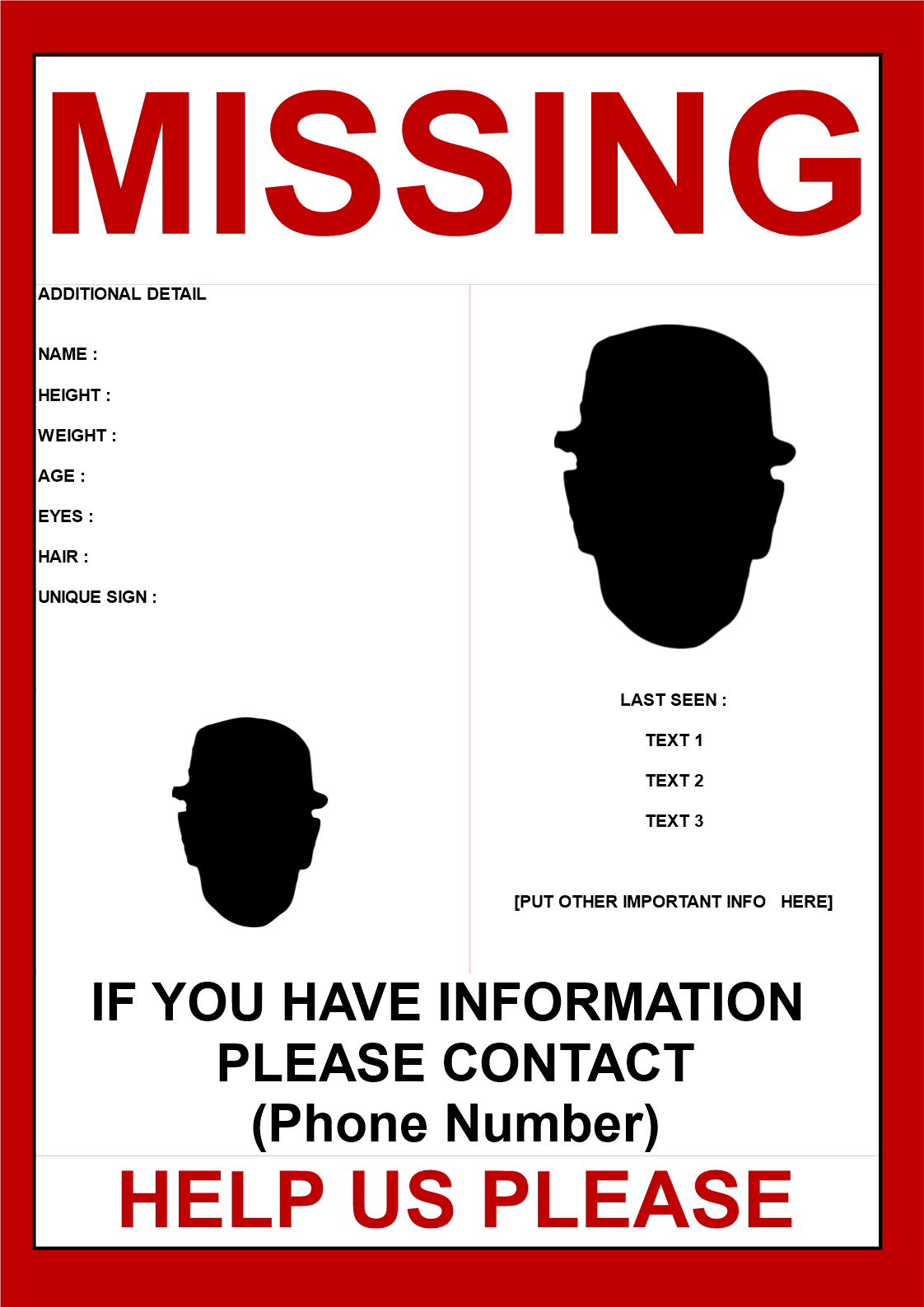 Missing Person Poster Template 2 Images