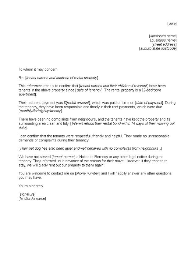 Gratis Tenant Reference Letter