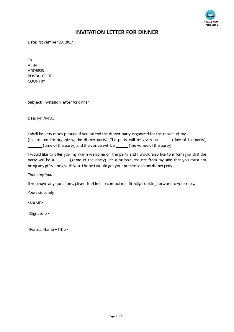 Invitation Letter For Dinner   Templates at allbusinesstemplates.com