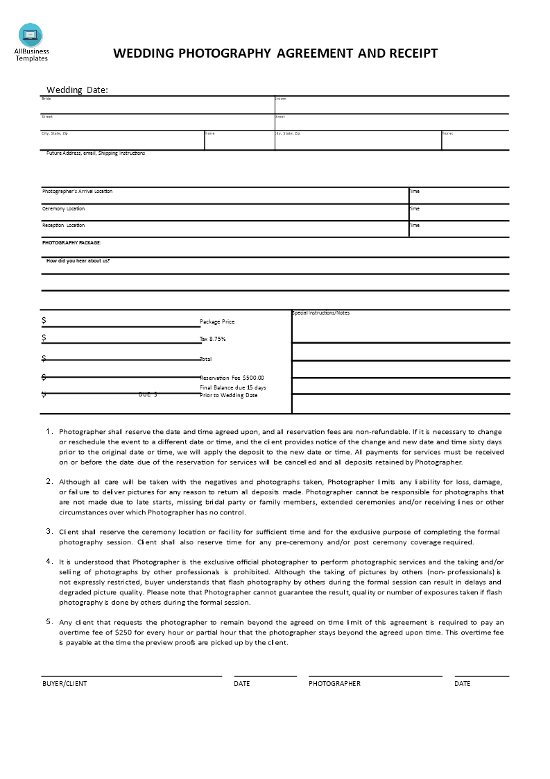 Wedding Photography Receipt and Agreement   Templates at allbusinesstemplates.com