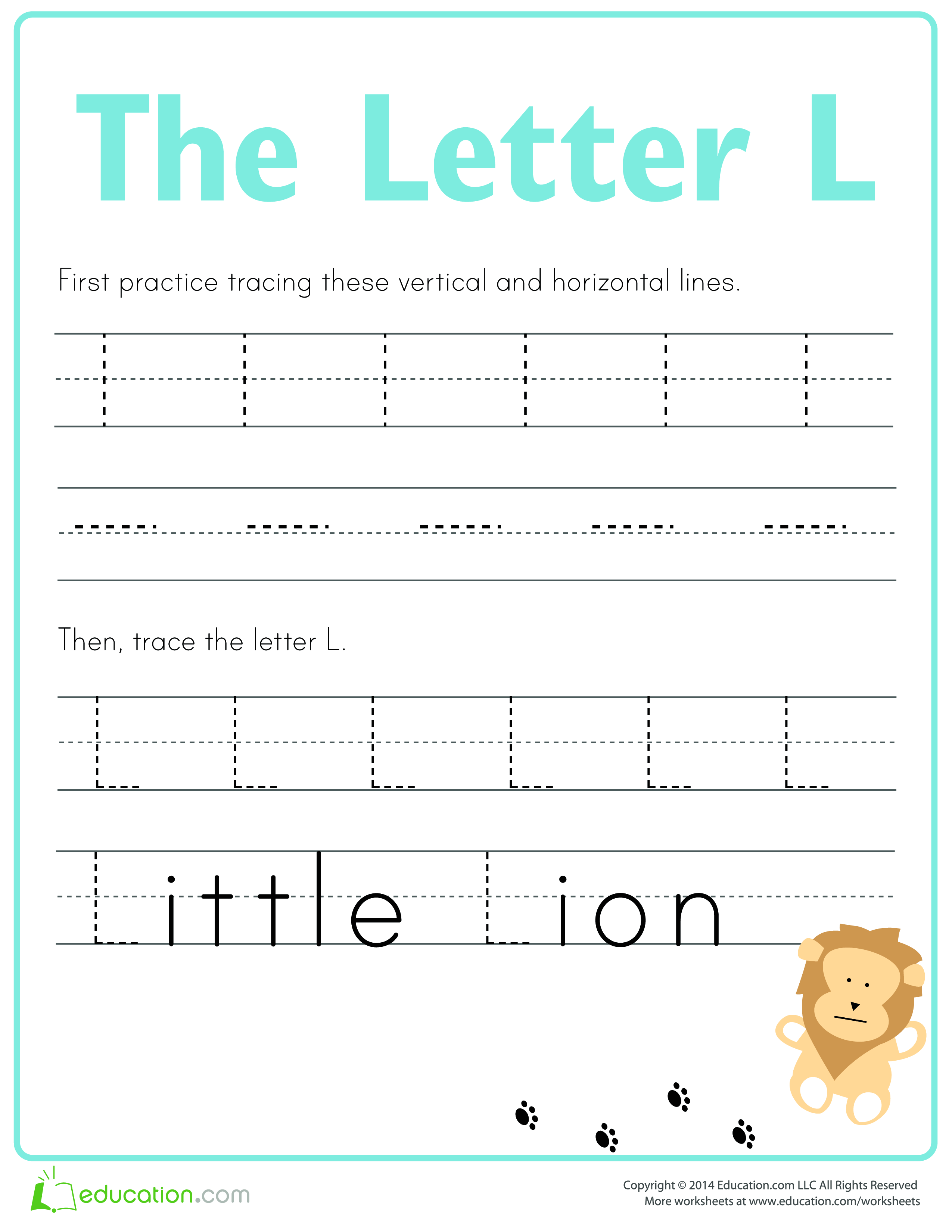 Learn To Write Letter L