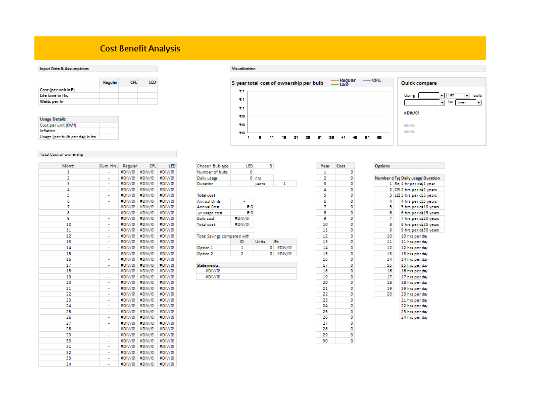 2021 yearly calendar template (light theme) Led Cost Benefit Analysis In Ms Excel Templates At Allbusinesstemplates Com