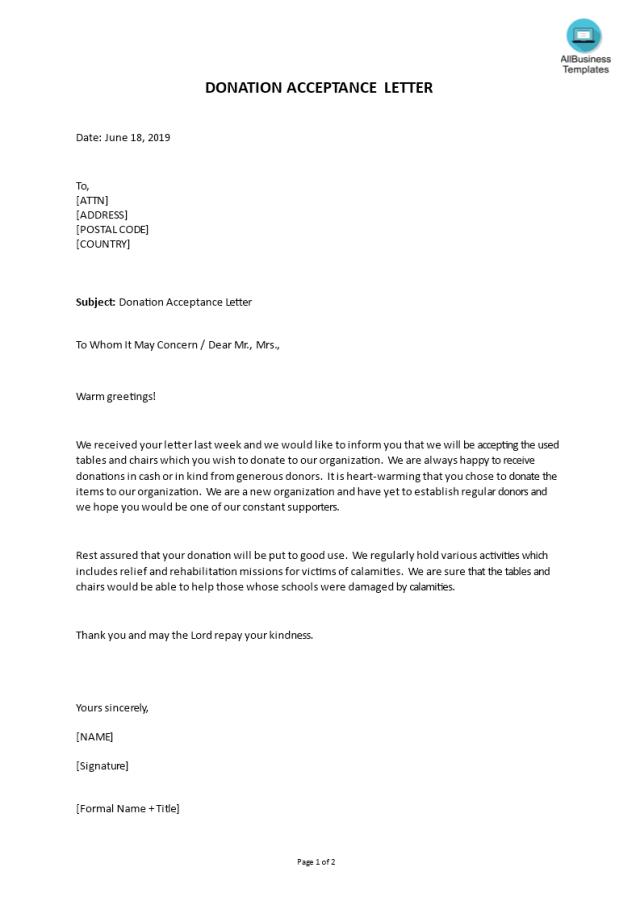 Donation Acceptance Letter  Templates at allbusinesstemplates.com