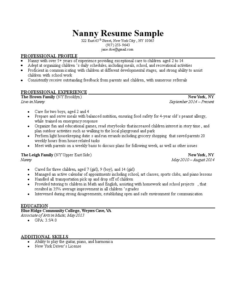 Free Nanny CV Templates At Allbusinesstemplates Com