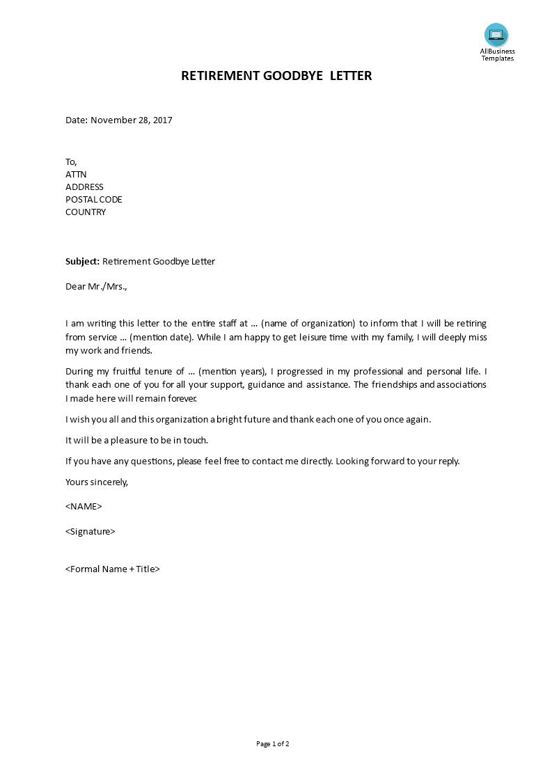 Retirement Goodbye Letter   Templates at allbusinesstemplates.com
