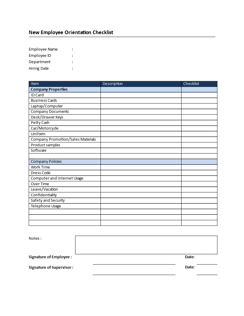 New employee checklist template excel new new hire checklist template new. New Employee Orientation Checklist Templates At Allbusinesstemplates Com