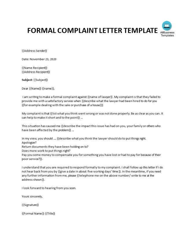 Kostenloses Formal Complaint Letter against a Lawyer or Law Firm