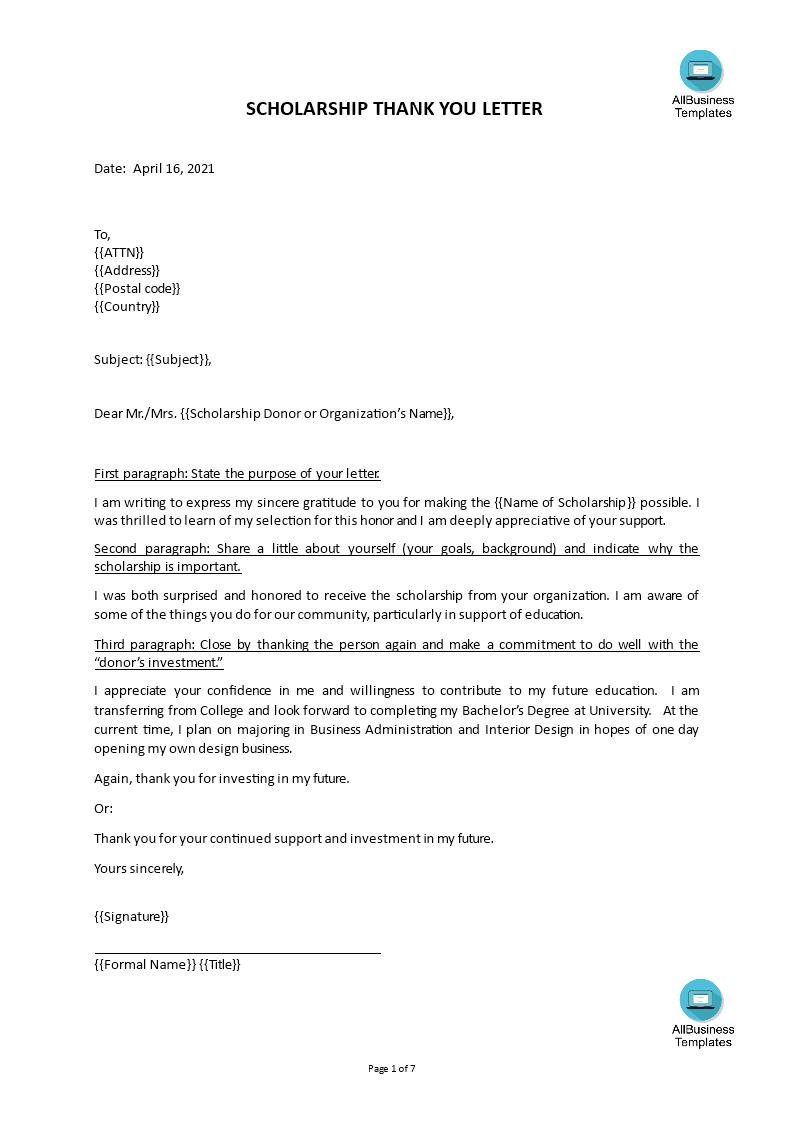 Sample Thank You Letter For Scholarship Award