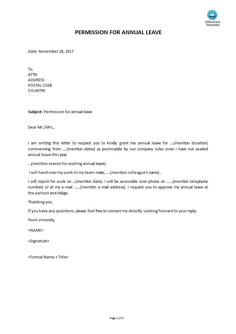 Free Annual Leave Letter | Templates at allbusinesstemplates.com
