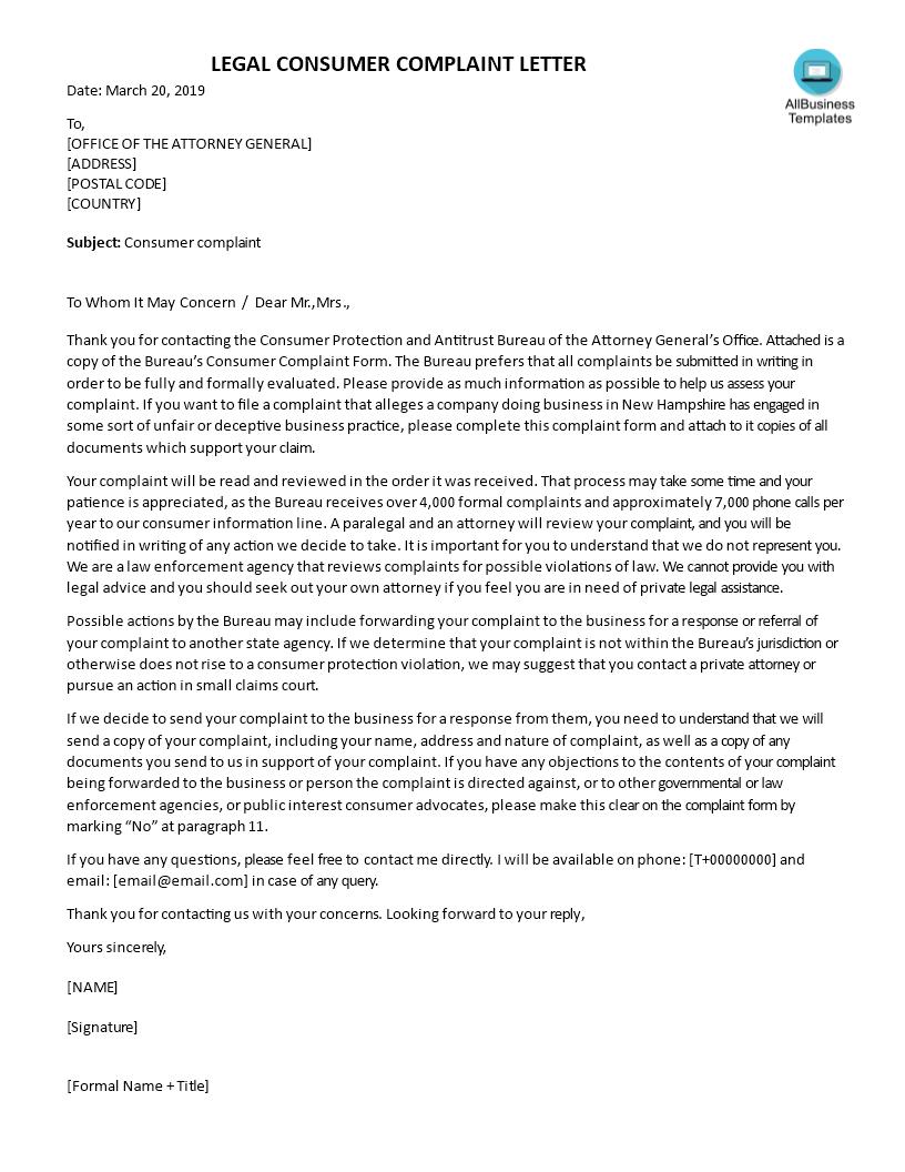 Sample Legal Complaint Letter | Templates at allbusinesstemplates.com