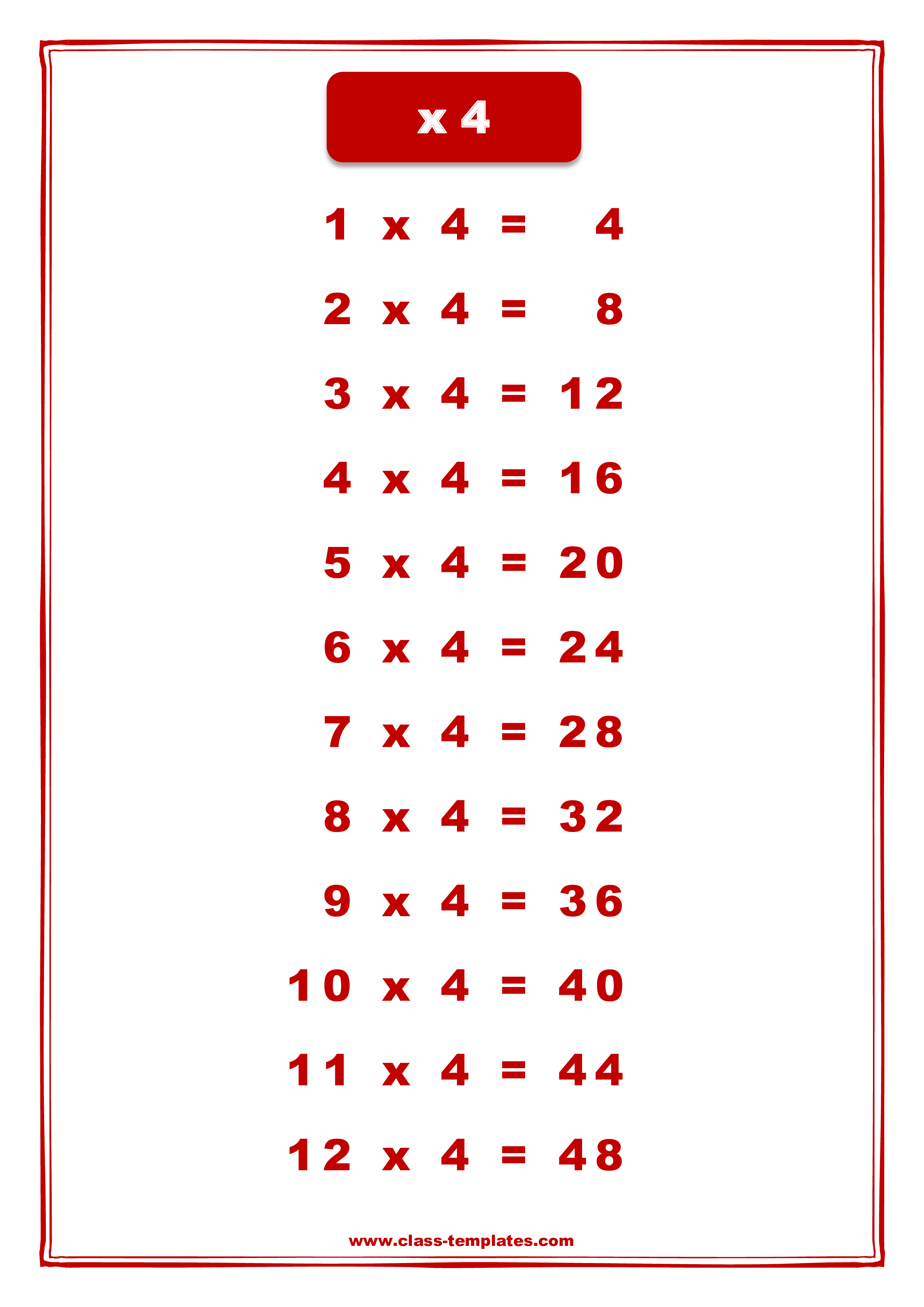 X4 Times Table Chart