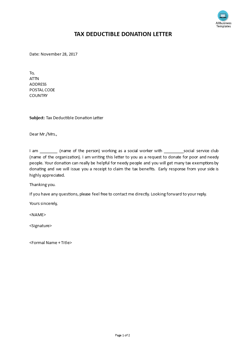How To Write A Tax Deductible Donation Letter. example of