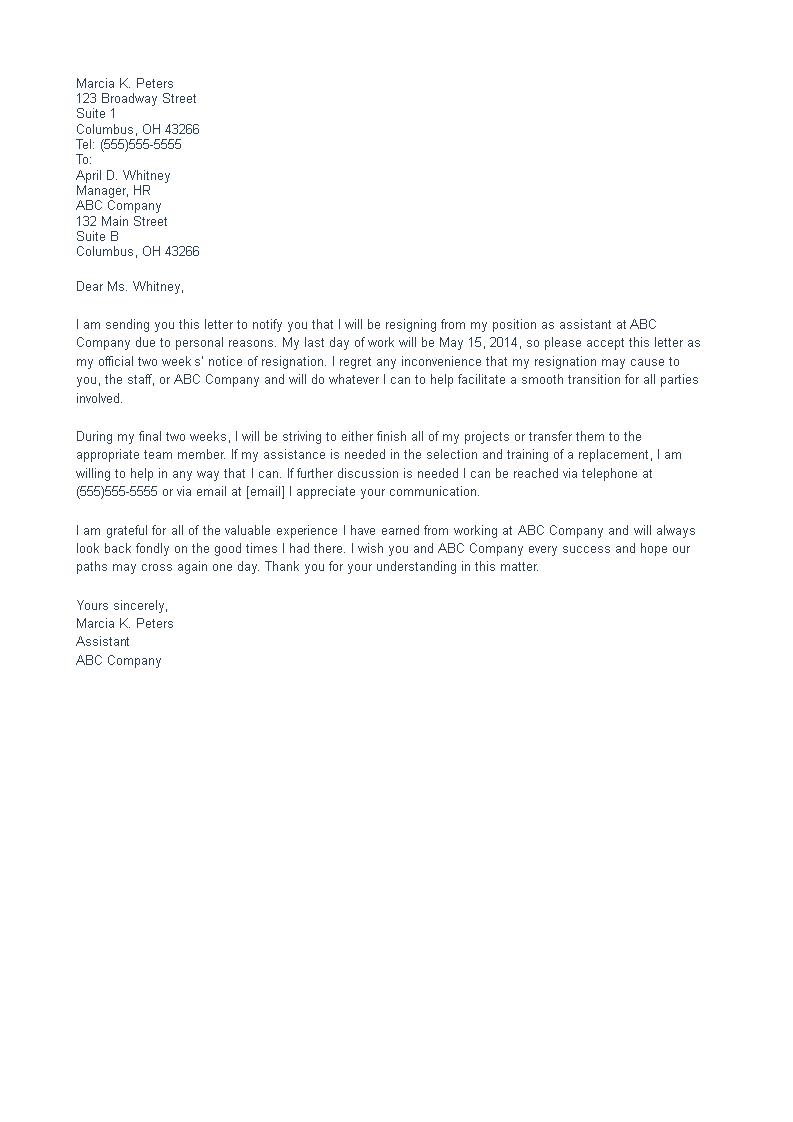 Resignation Letter 4 weeks notice | Templates at allbusinesstemplates.com