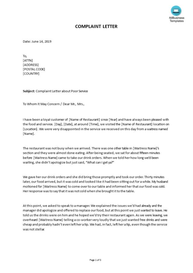 Kostenloses Sample Complaint Letter About Poor Service