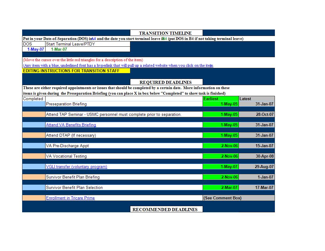 Excel Spreadsheet Timeline