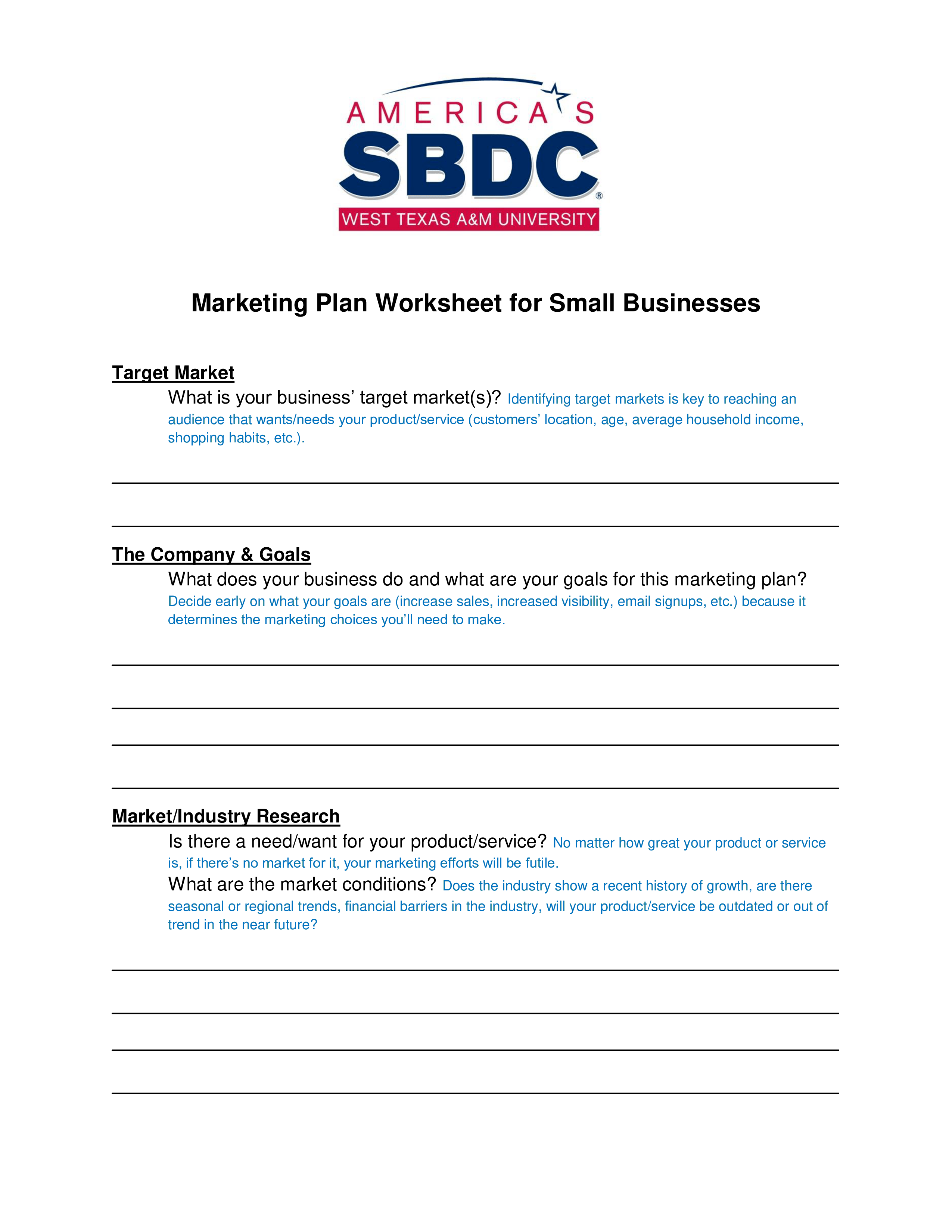 Small Business Marketing Plan Worksheet