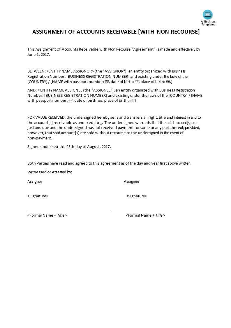 Assignment Of Accounts Receivable | Templates at allbusinesstemplates.com