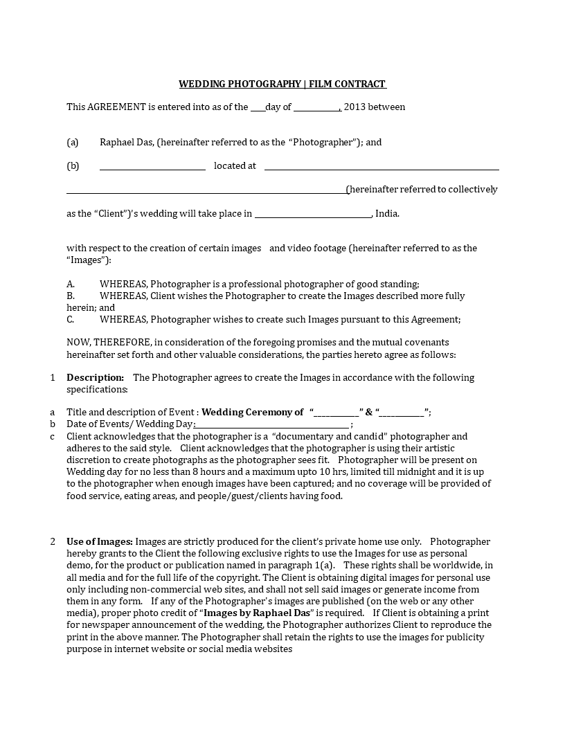 Wedding Photography Contract  Templates at
