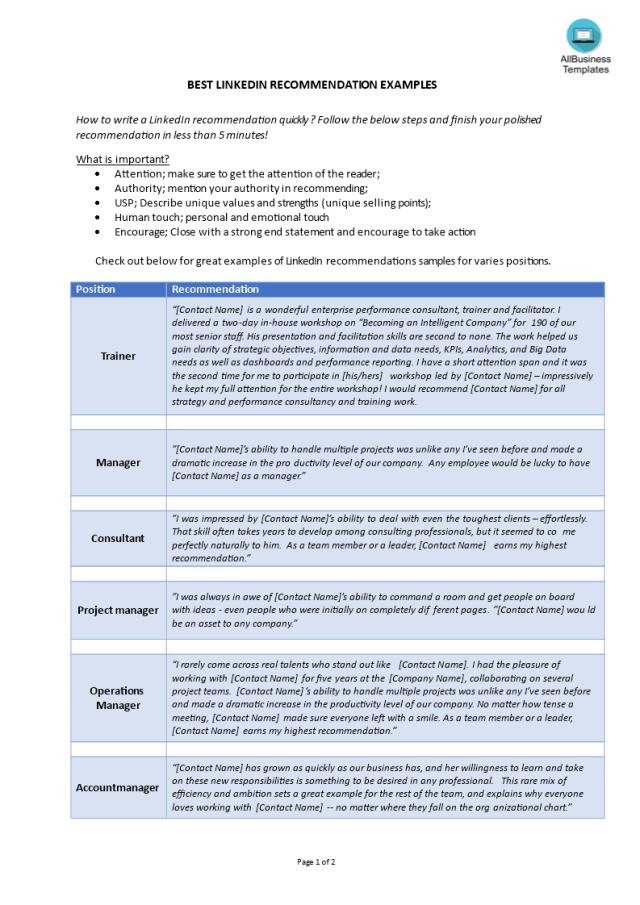 Kostenloses Best LinkedIN Recommendations 17