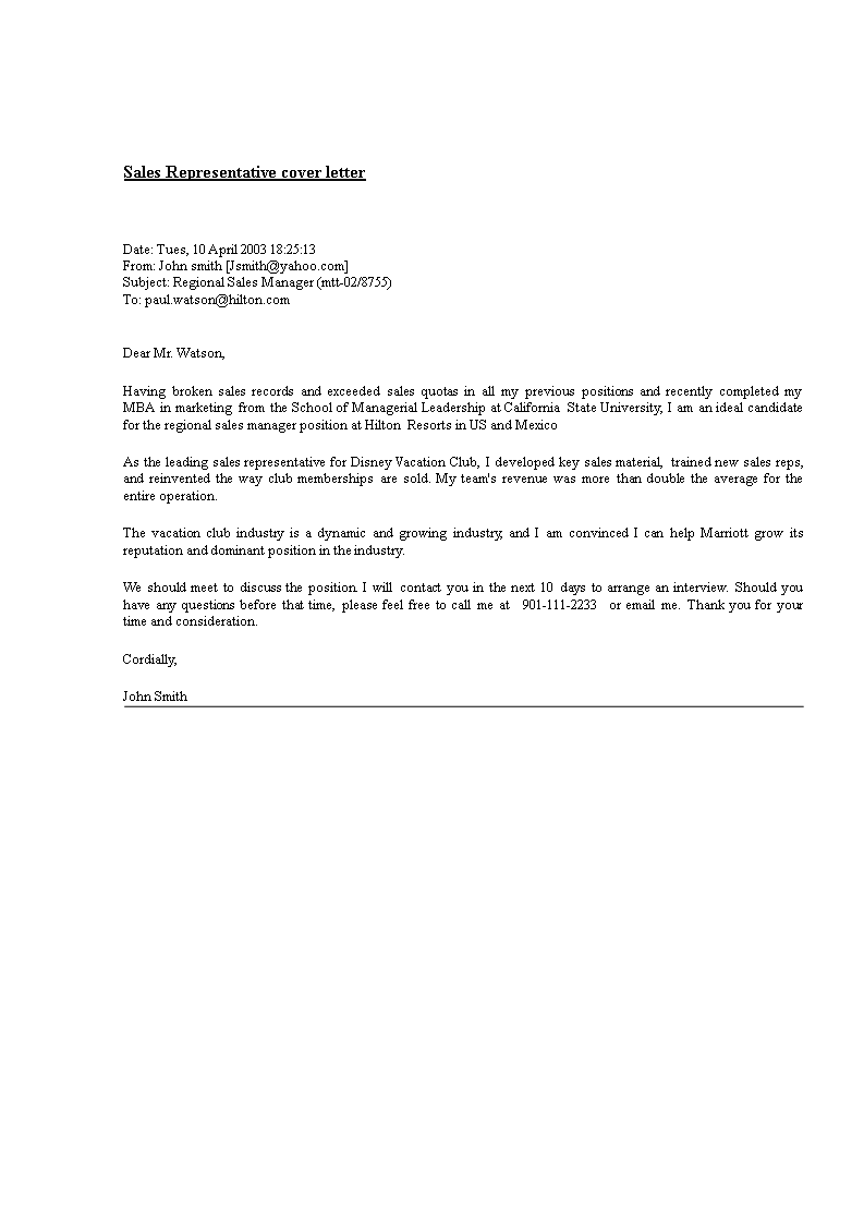 Sales Representative Cover Letter | Templates at allbusinesstemplates.com