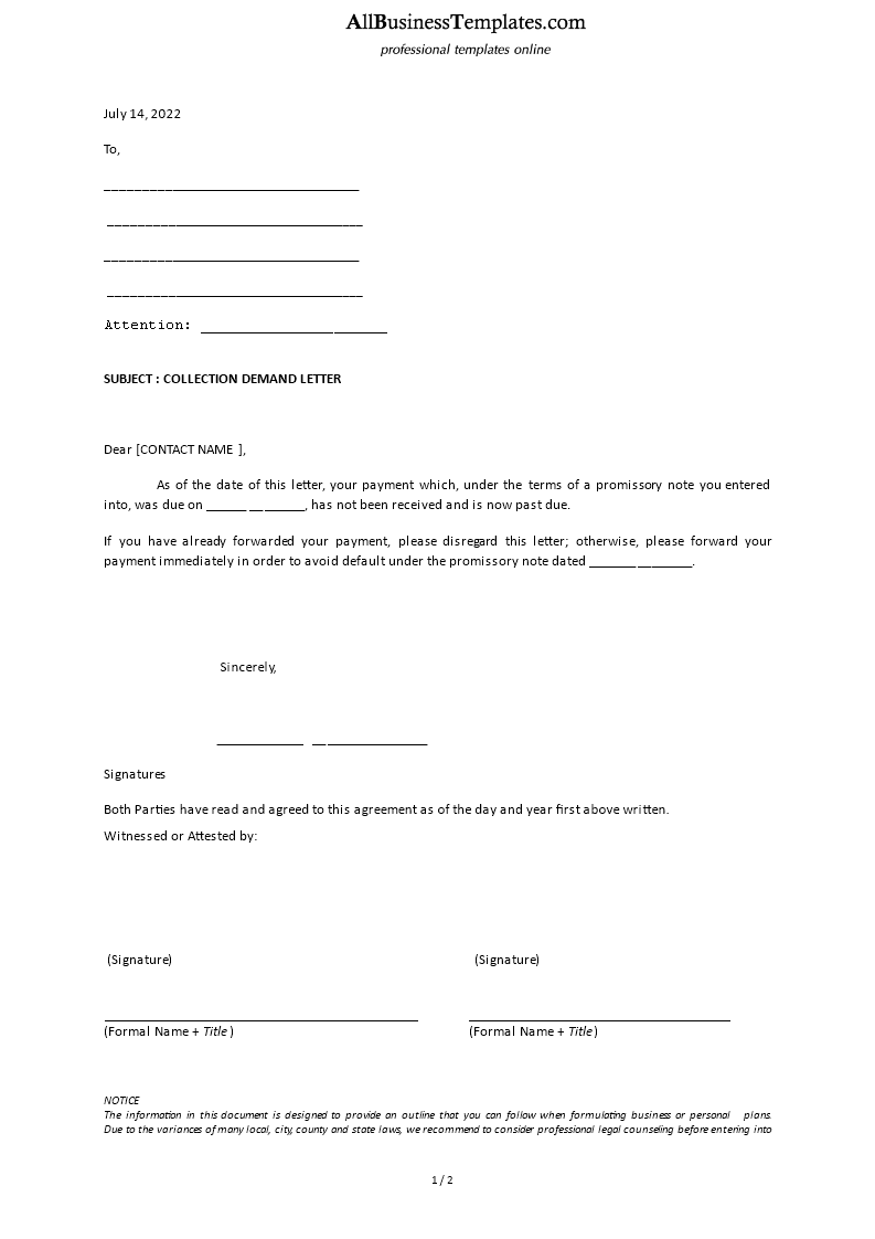 Collection Demand Letter Template Main Image