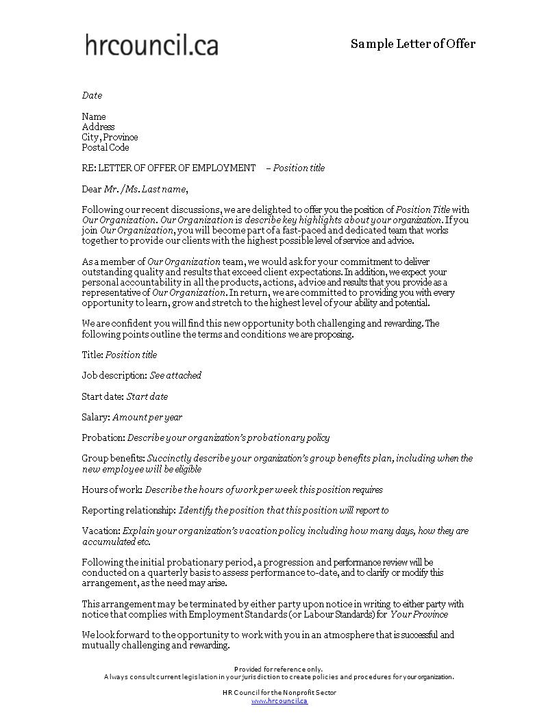 Sales Representative Offer Letter | Templates at allbusinesstemplates.com