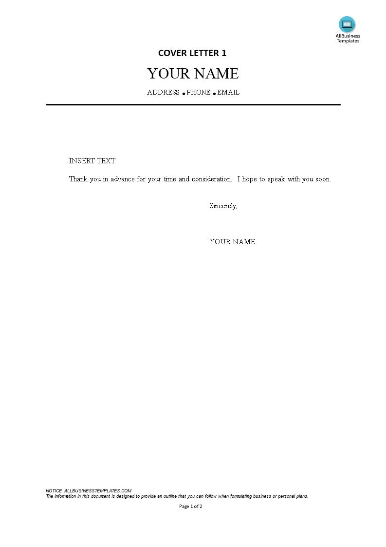 Blank Cover Letter Format  Templates at allbusinesstemplatescom