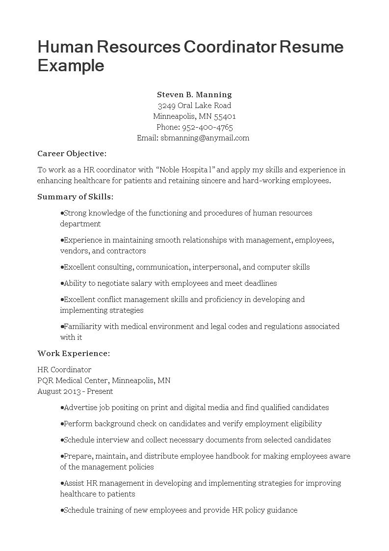 HR Coordinator Resume Templates At
