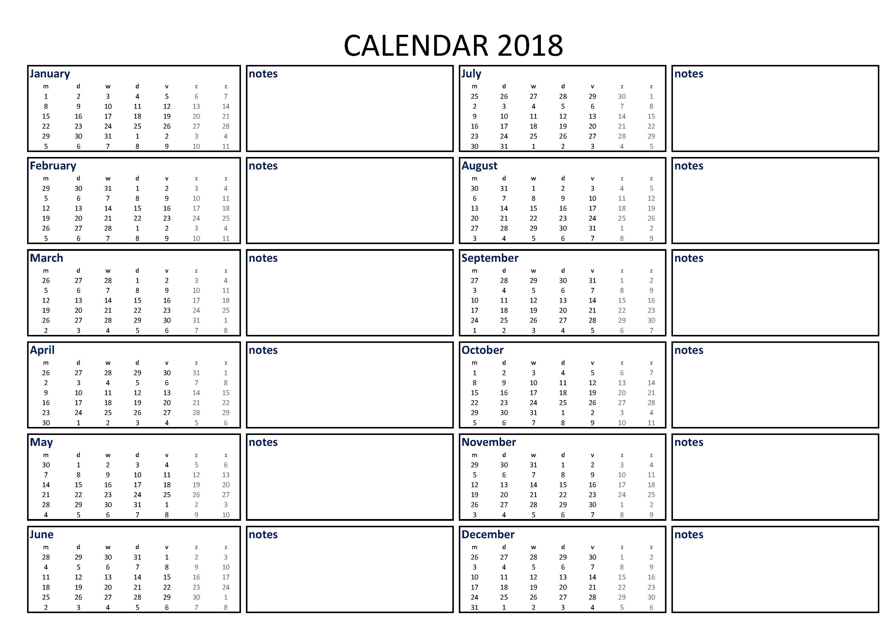 Free Calendar Excel Template A3 With Notes