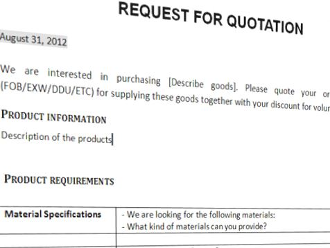 Request For Quotation Trading Business Template | Templates at ...