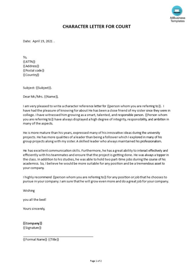 Télécharger Gratuit Character letter for court