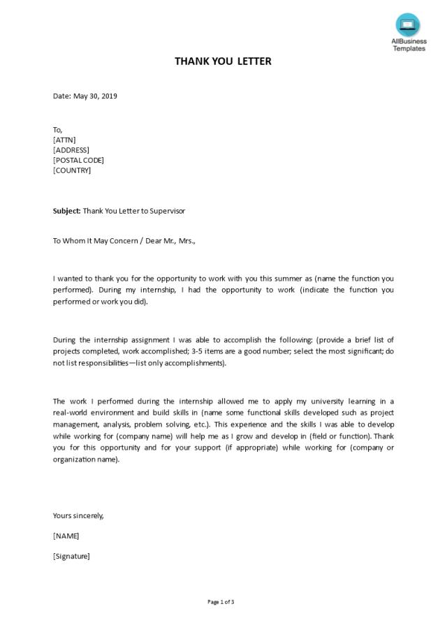 Kostenloses Internship Thank You Letter to Supervisor Sample