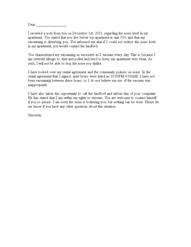 Noise Complaint Response Letter