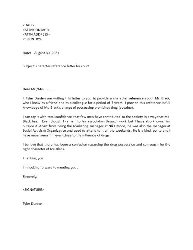 Kostenloses Character Reference Letter for Court