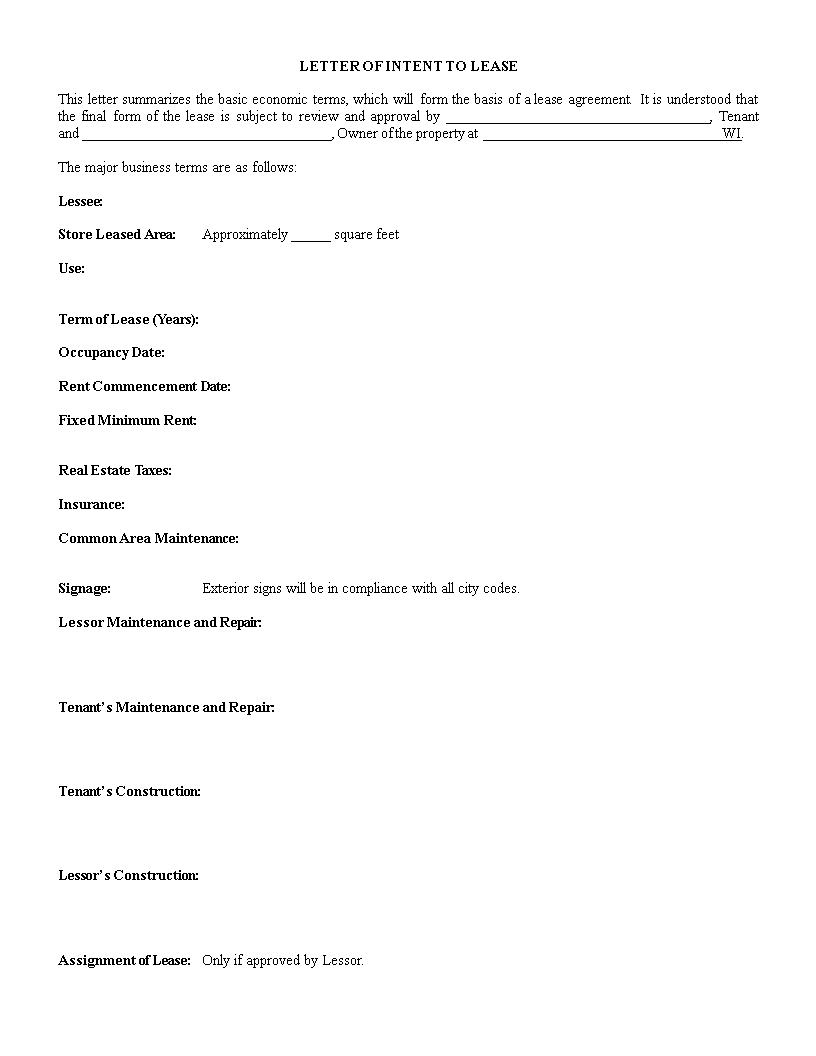Letter Of Intent To Lease Template Main Image