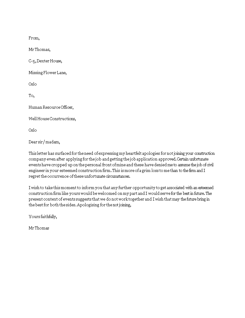 5 Apology Letter For Not Joining Company - Resume Examples
