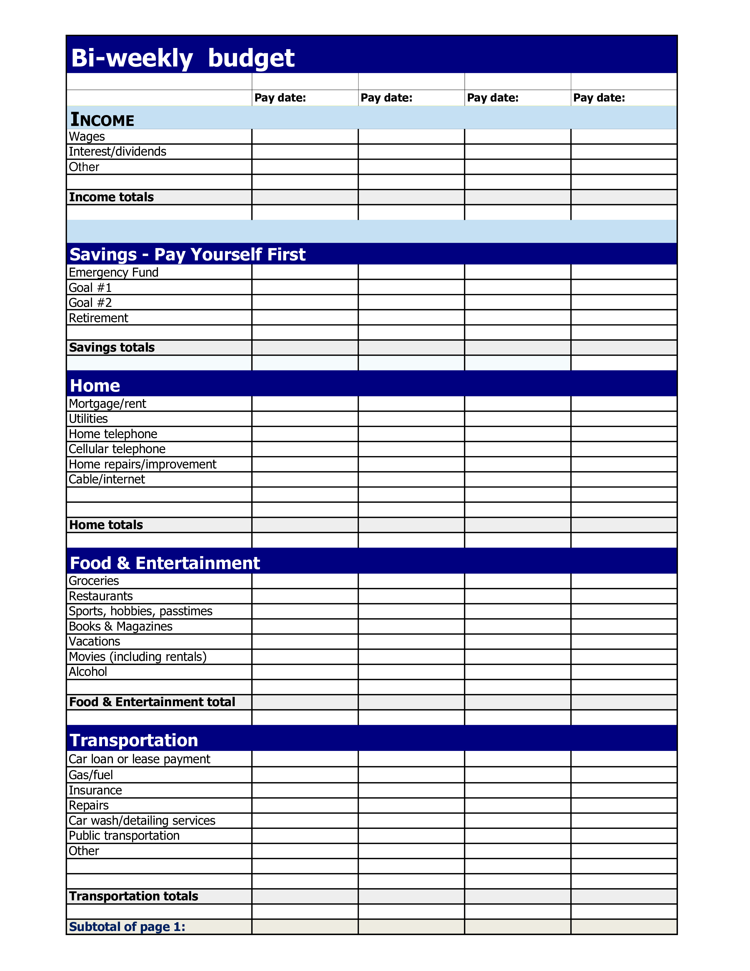Free Biweekly Budget Template
