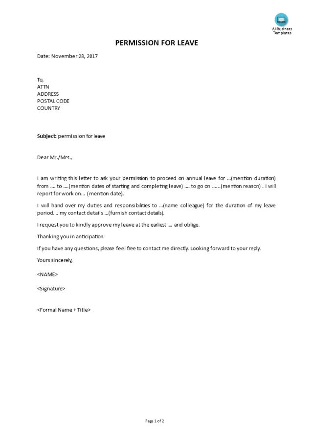 Kostenloses Permission Leave Letter