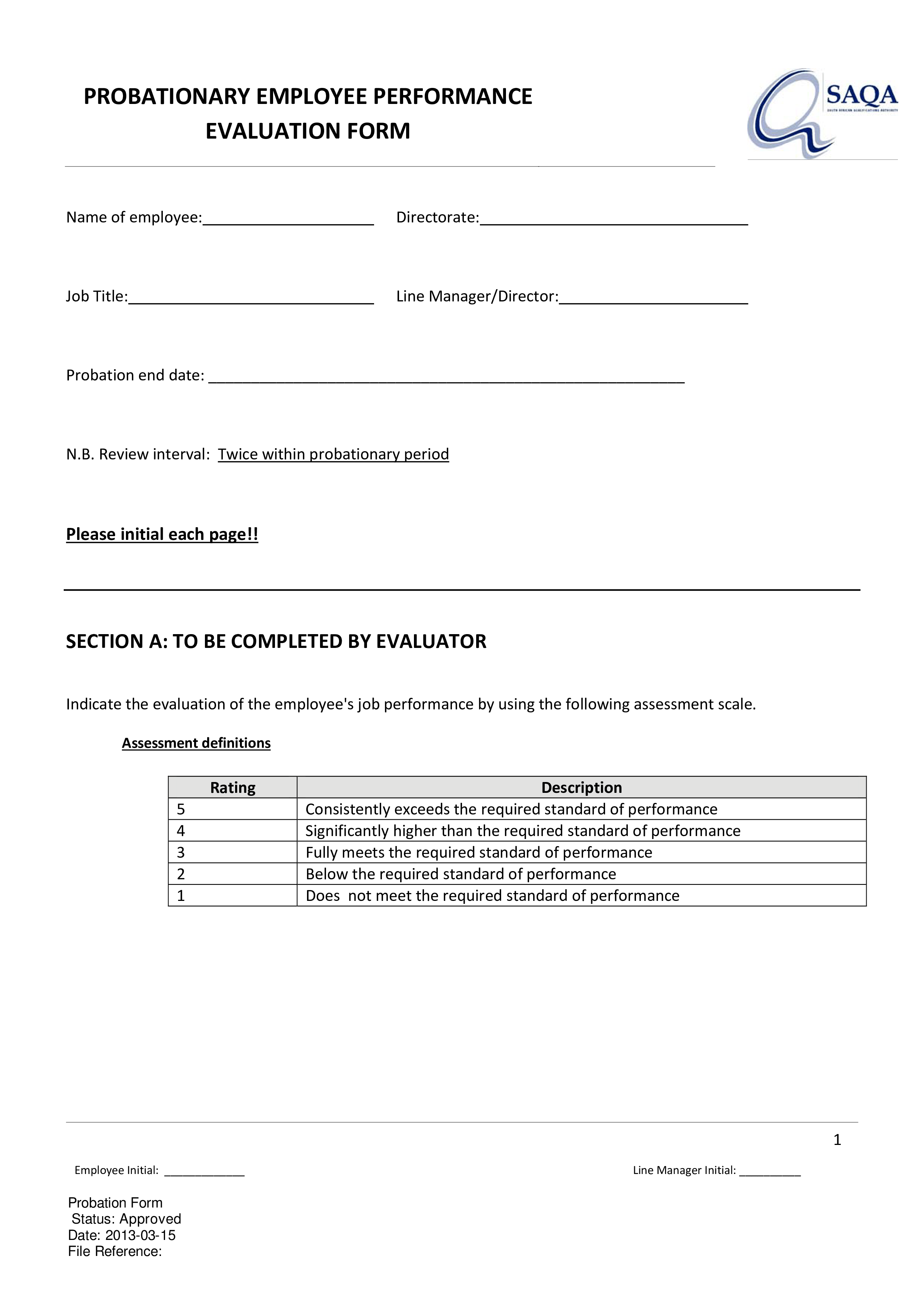 Employee Probation Review Form   Templates at allbusinesstemplates.com