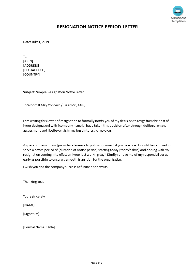 Simple Resignation Notice Letter Template Word | Templates at allbusinesstemplates.com