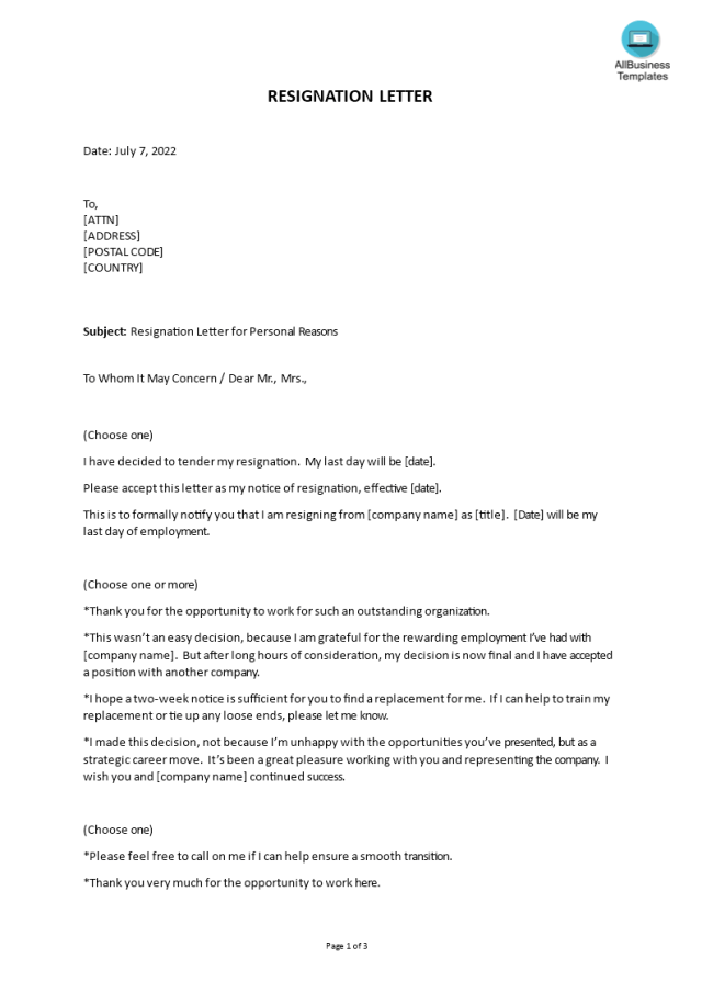 Kostenloses Personal Reasons Resignation Letter