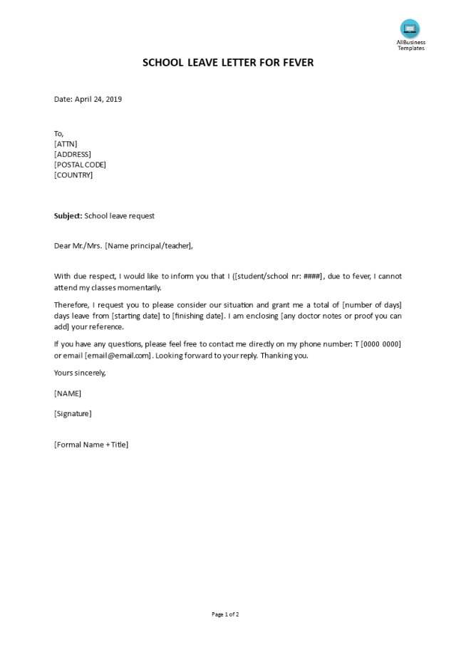 Kostenloses School leave letter for fever
