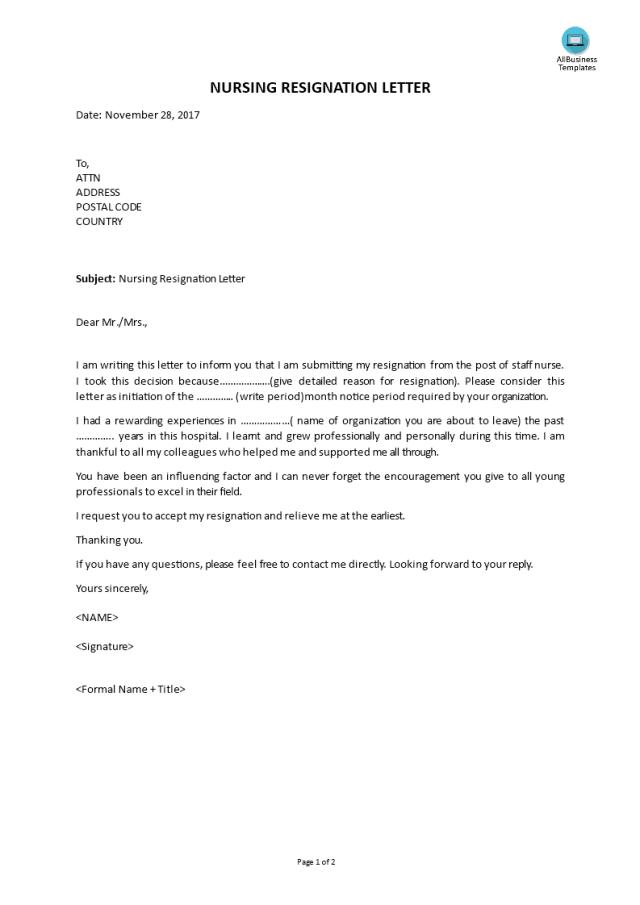 Kostenloses Nursing Resignation Letter