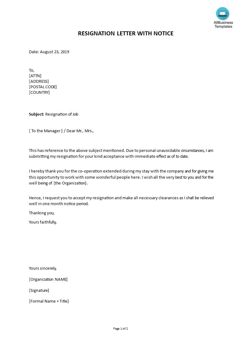 Resignation Letter Format With Notice Period | Templates at allbusinesstemplates.com